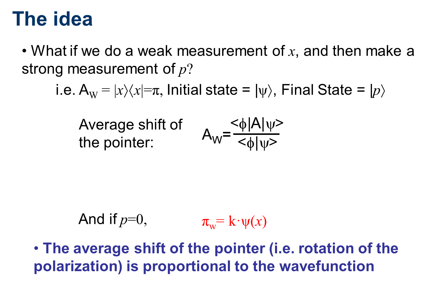 Idea for direct measurement of the wavefunction